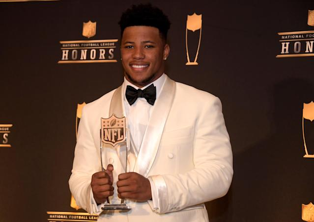 Saquon Barkley's Rookie of the Year honors earned him two very expensive pieces of hardware. (Kirby Lee/USA Today)