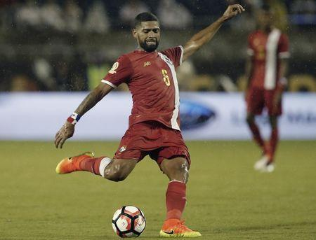 Jun 6, 2016; Orlando, FL, USA; Panama midfielder Gabriel Gomez (6) kicks the ball against Bolivia in the second half of a soccer match during the group play stage of the 2016 Copa America Centenario at Camping World Stadium. Panama won 2-1. Mandatory Credit: Reinhold Matay-USA TODAY Sports / Reuters Picture Supplied by Action Images