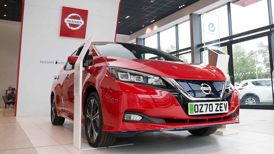 Nissan Leaf in a car showroom with a 70-plate new car registration