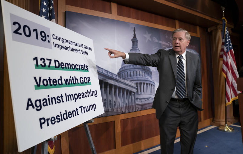 """Republican Sen. Lindsey Graham of South Carolina, one of President Donald Trump's chief allies, says he will introduce a resolution condemning the Democratic-controlled House for pursuing a """"closed door, illegitimate impeachment inquiry,"""" during a news conference at the Capitol in Washington,Thursday, Oct. 24, 2019. The non-binding resolution by the Senate Judiciary Committee chairman gives Senate Republicans a chance to show support for the president at a moment when Trump is urging his allies to get tougher and fight harder for him. (AP Photo/J. Scott Applewhite)"""