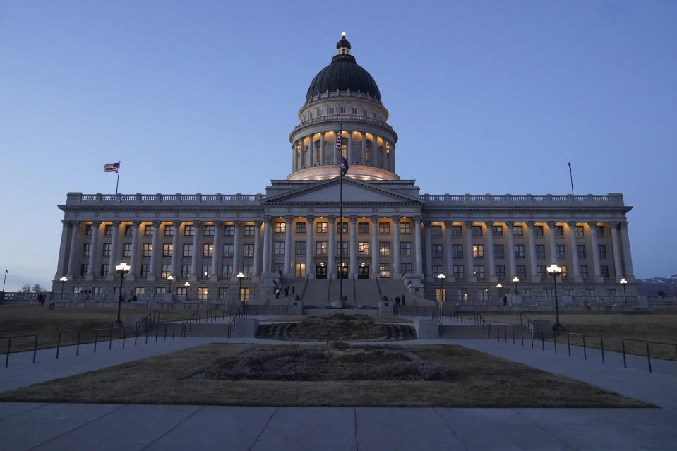 FILE - The Utah Capitol is shown on March 5, 2021, in Salt Lake City. Conservative lawmakers in Utah have fired another salvo in their longtime campaign against online porn with a new requirement that all cellphones and tablets sold in the state automatically block pornography in a plan that critics call a significant intrusion on free speech. (AP Photo/Rick Bowmer, File)