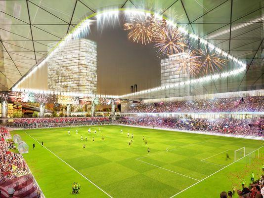 Artist rendering of the proposed soccer stadium in downtown Detroit.