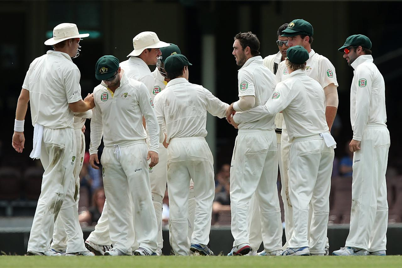 SYDNEY, AUSTRALIA - NOVEMBER 04:  Glenn Maxwell of Australia A celebrates with team mates after dismissing Jacques Rudolph of South Africa during day three of the International Tour Match between Australia A and South Africa at Sydney Cricket Ground on November 4, 2012 in Sydney, Australia.  (Photo by Chris Hyde/Getty Images)