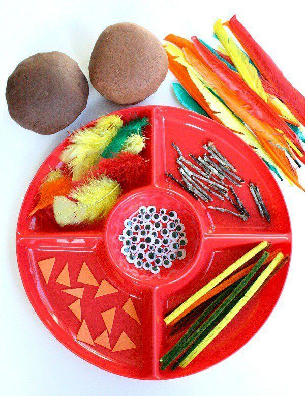 """<p>Set out some craft supplies and brown play dough so kids can create their own turkeys.</p><p><strong>Get the tutorial at <a href=""""http://www.fantasticfunandlearning.com/thanksgiving-turkey-play-dough.html"""" rel=""""nofollow noopener"""" target=""""_blank"""" data-ylk=""""slk:Fantastic Fun and Learning"""" class=""""link rapid-noclick-resp"""">Fantastic Fun and Learning</a>.</strong></p><p><a class=""""link rapid-noclick-resp"""" href=""""https://www.amazon.com/dp/B074T7V7HS/?tag=syn-yahoo-20&ascsubtag=%5Bartid%7C10050.g.1201%5Bsrc%7Cyahoo-us"""" rel=""""nofollow noopener"""" target=""""_blank"""" data-ylk=""""slk:SHOP CRAFTING FEATHERS"""">SHOP CRAFTING FEATHERS</a></p>"""