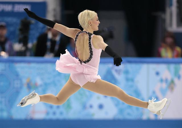Viktoria Helgesson of Sweden competes in the women's short program figure skating competition at the Iceberg Skating Palace during the 2014 Winter Olympics, Wednesday, Feb. 19, 2014, in Sochi, Russia. (AP Photo/Ivan Sekretarev)