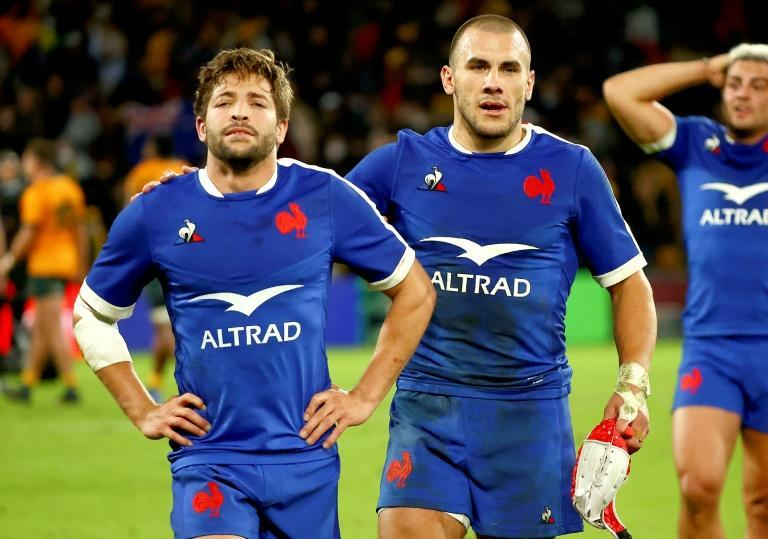 France's Teddy Iribaren, left, and Gabin Villiere are crestfallen after losing a Test in which they were never behind against the Wallabies until the final kick of the match