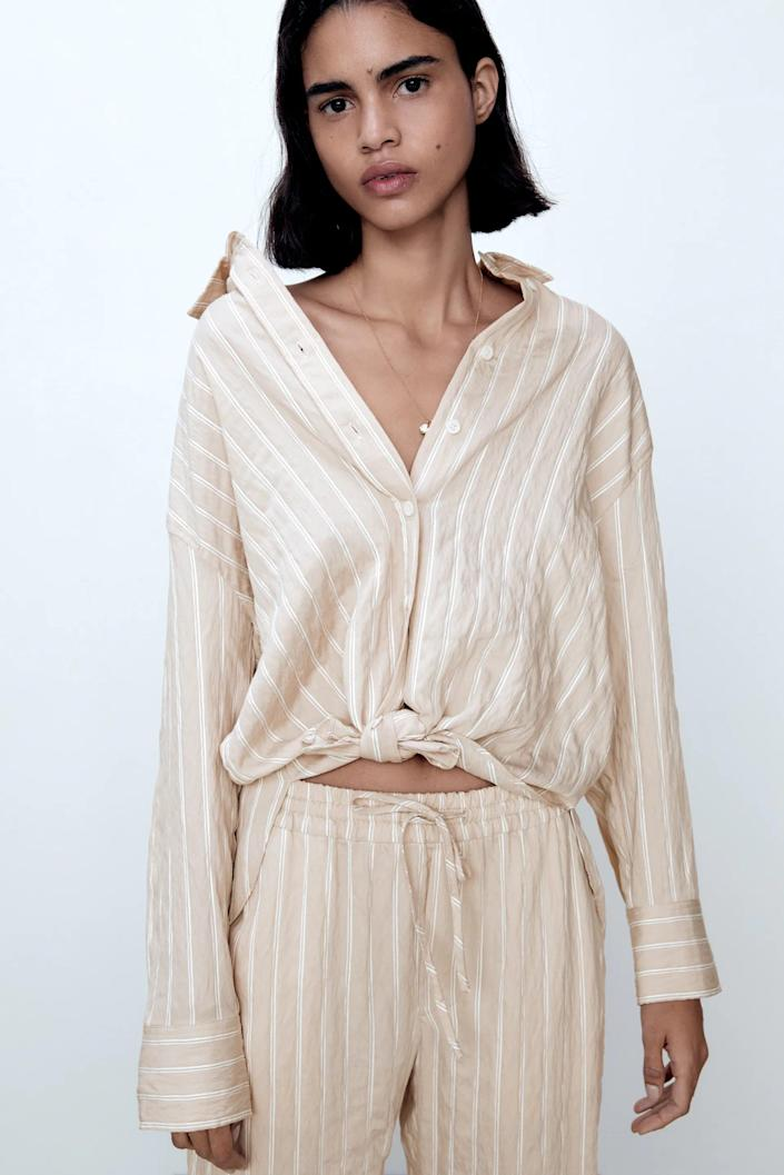 <p>You can tie this cute <span>Zara Textured Striped Shirt</span> ($50) in the front.</p>