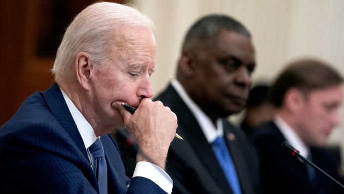 U.S. President Joe Biden listens during an expanded bilateral meeting with President Moon Jae-in of the Republic of Korea in the State Dining Room of the White House on May 21, 2021. (Stefani Reynolds-Pool/Getty Images)
