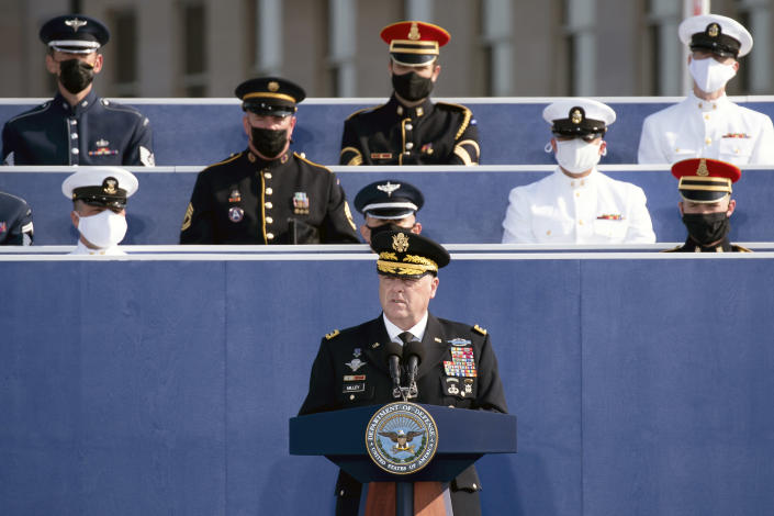U.S. Army Gen. Mark Milley, the chairman of the Joint Chiefs of Staff, Speaks at the Pentagon in Arlington, Va., on Sept. 11, 2021, the twentieth anniversary of the 9/11 terror attack. (Stefani Reynolds/The New York Times)