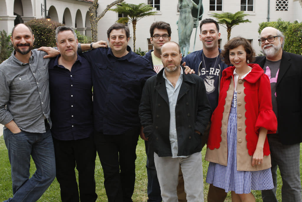 "Creator and Executive Producer Loren Bouchard, cast members Larry Murphy, Eugene Mirman, Dan Mintz, H. Jon Benjamin, John Roberts and Kristen Schaal,and Executive Producer Jim Dauterive attend ""Bob's Burgers Live!"" at the WIlshire Ebell Theatre on Tuesday, May 7 in Los Angeles, CA."