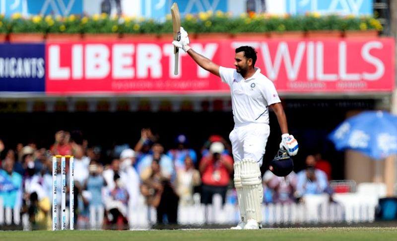Rohit Sharma of India celebrates his two Hundred runs during day two of the third test match between India and South Africa held at the JSCA International Stadium Complex, Ranchi India on the 20th October 2019 Photo by Prashant Bhoot / SPORTZPICS for BCCI