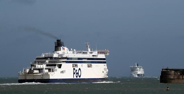 Ferries near the Port of Dover in Kent. (PA)