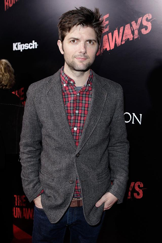 """<a href=""""http://movies.yahoo.com/movie/contributor/1800258850"""">Adam Scott</a> at the Los Angeles premiere of <a href=""""http://movies.yahoo.com/movie/1810129048/info"""">The Runaways</a> - 03/11/2010"""