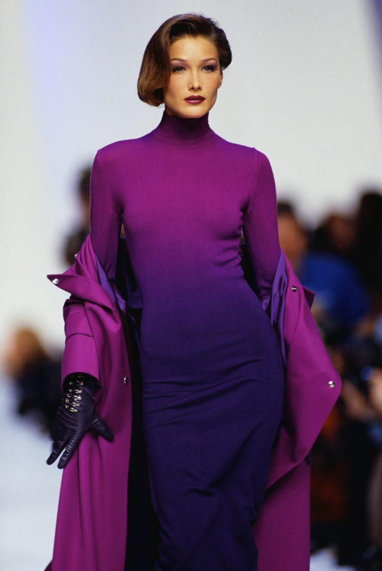 Carli Bruni Sarkozy walks a runway during her modeling days. Photo: Getty Images