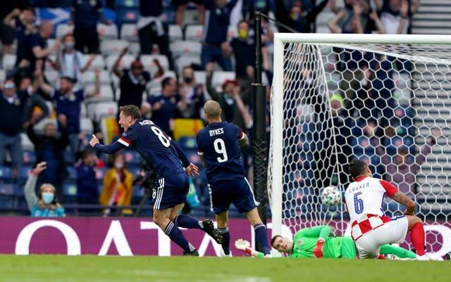 Callum McGregor (left) scored Scotland's only goal of the tournament in a 3-1 loss to Croatia
