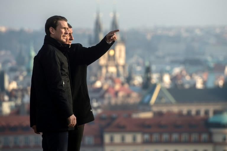 Czech Republic's Prime Minister Andrej Babis and his Austrian counterpart Sebastian Kurz before a meeting on January 16, 2020 in Prague; Kurz has admitted ex-Communist neighbours had a different strategy for going green