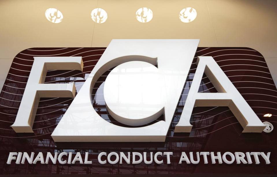 The logo of the new Financial Conduct Authority (FCA) is seen at the agency's headquarters in the Canary Wharf business district of London April 1, 2013. The Financial Services Authority (FSA) has been scrapped from April 1 amid reforms to fix a supervisory system criticised for failing to spot the financial crisis coming, forcing Britain to bail out banks. Two new bodies will replace it - the FCA and the Prudential Regulation Authority.  REUTERS/Chris Helgren (BRITAIN - Tags: BUSINESS POLITICS LOGO)