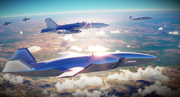 An artist's conception shows drones in the Boeing Airpower Teaming System flying alongside an F/A-18 Super Hornet fighter jet. (Boeing Illustration)