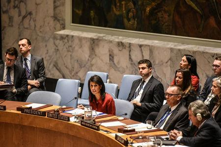 United States U.N. Ambassador Nikki Haley delivers remarks at the Security Council meeting on the situation in Syria at the United Nations Headquarters