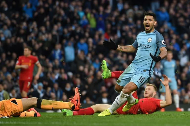 Manchester City's Sergio Aguero celebrates after scoring a goal during their English Premier League match against Liverpool, at the Etihad Stadium in Manchester, on March 19, 2017
