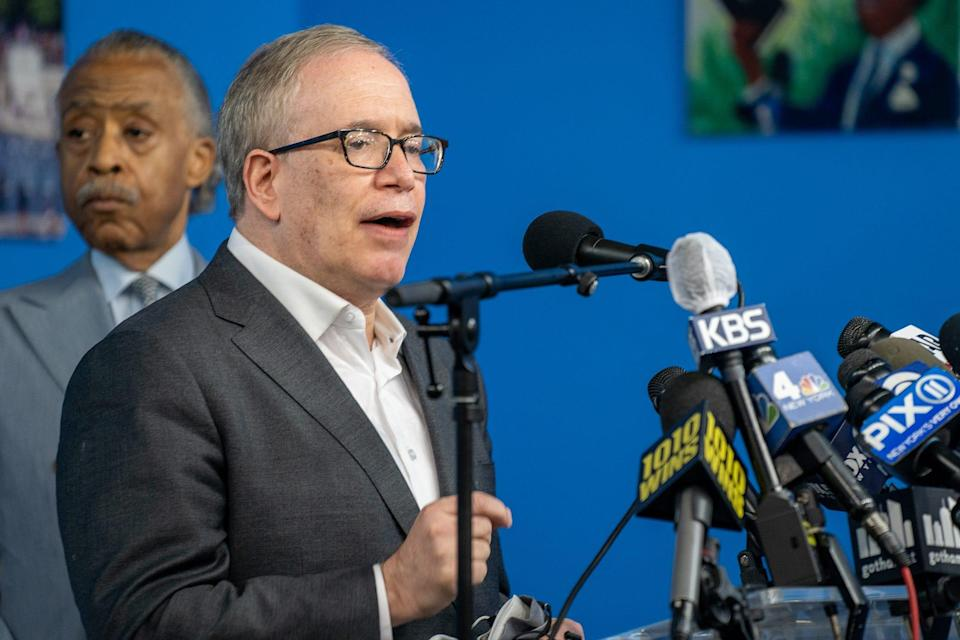 New York City Comptroller Scott Stringer denounces violence against Asian Americans at a news conference March 18 at the National Action Network's House of Justice.