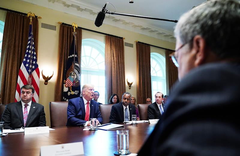 Donald Trump speaking at a cabinet meeting at the White House: AFP via Getty Images