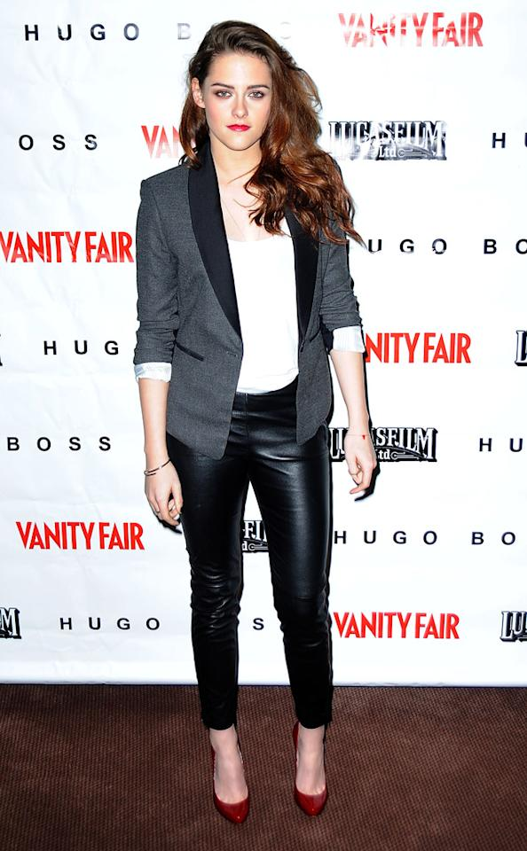 "SAN FRANCISCO, CA - DECEMBER 07:  Actress Kristen Stewart attends the ""On the Road"" Vanity Fair Screening presented by Hugo Boss at Skywalker Ranch on December 7, 2012 in San Francisco, California.  (Photo by C Flanigan/WireImage)"
