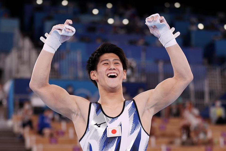 <p>Gymnast Daiki Hashimoto of Team Japan brings home the gold during the Men's All-Around Final at Ariake Gymnastics Centre on July 28.</p>