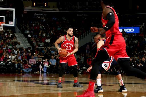 WASHINGTON, DC - OCTOBER 20: Fred VanVleet #23 of the Toronto Raptors handles the ball against the Washington Wizards on October 20, 2018 at Capital One Arena in Washington, DC. (Photo by Stephen Gosling/NBAE via Getty Images)
