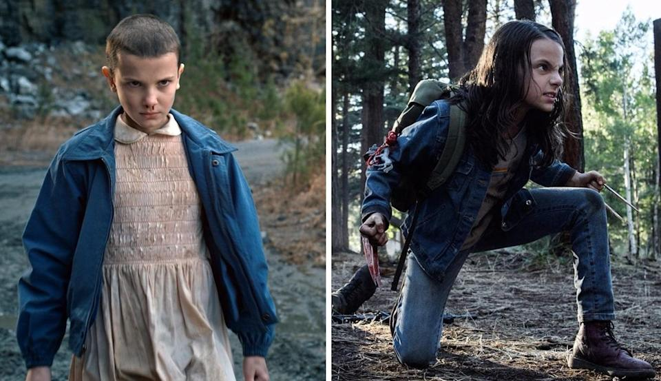 'Stranger Things' star Millie Bobby Brown (left) came close to Dafne Keen's role in 'Logan' (credit: Netflix/20th Century Fox)