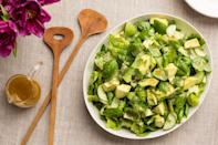 """This all-green salad is studded with avocado, crunchy cucumbers, and asparagus, and punctuated by tons of fresh dill and basil. The varied shades of green look like spring in a bowl. <a href=""""https://www.epicurious.com/recipes/food/views/all-green-salad-with-citrus-vinaigrette-56389342?mbid=synd_yahoo_rss"""" rel=""""nofollow noopener"""" target=""""_blank"""" data-ylk=""""slk:See recipe."""" class=""""link rapid-noclick-resp"""">See recipe.</a>"""