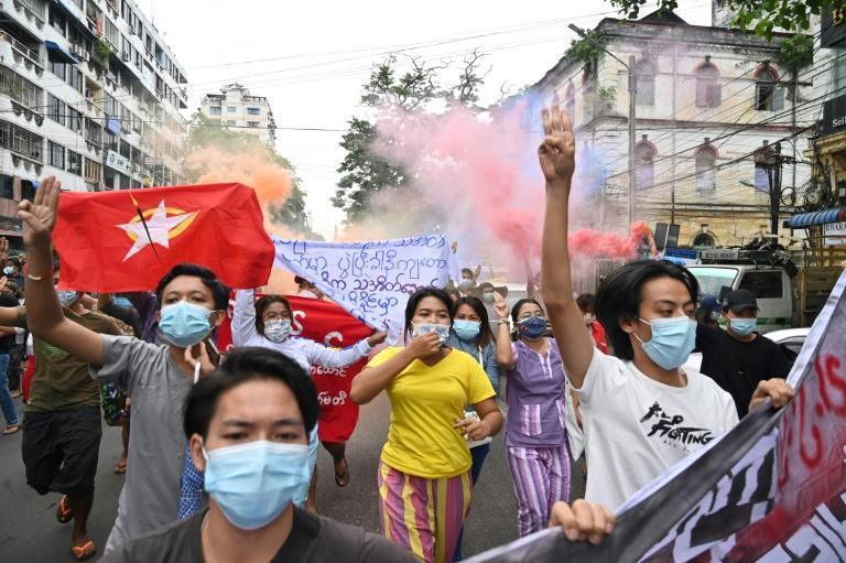 Protesters took to the streets in Yangon to mark the 1962 university protests