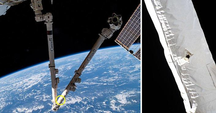 Space debris left a hole in the Canadarm2 on the International Space Station. / Credit: NASA/Canadian Space Agency