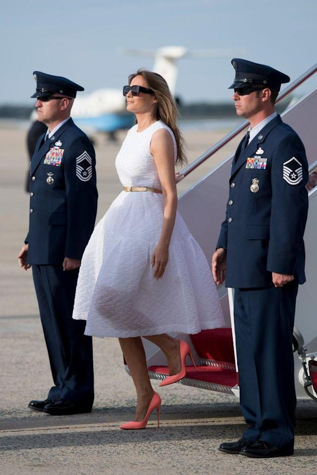 """<p>The Presidential Family <a href=""""http://www.townandcountrymag.com/society/politics/news/a9923/doanld-trump-mar-a-lago/"""" rel=""""nofollow noopener"""" target=""""_blank"""" data-ylk=""""slk:attended Easter service in Palm Beach"""" class=""""link rapid-noclick-resp"""">attended Easter service in Palm Beach</a>. For the day, Melania wore a white dress with a gold belt and neon pastel stilettos to spark Easter cheer.</p>"""