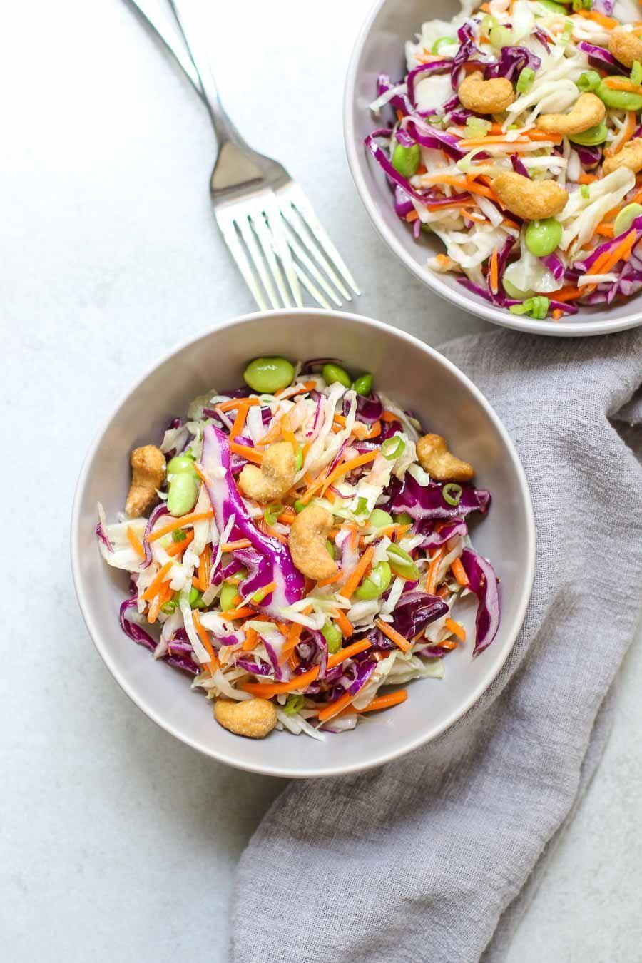 """<p>This 10-minute dinner feels like a life hack. Not only is it quick and easy to make, but it's a sweet and crunch combo you'll definitely be craving from now on.<br><br><a class=""""link rapid-noclick-resp"""" href=""""https://marisamoore.com/crunchy-cashew-cabbage-salad/"""" rel=""""nofollow noopener"""" target=""""_blank"""" data-ylk=""""slk:Get the recipe"""">Get the recipe</a><br><em><br>*Per one serving: 308 cal </em></p>"""