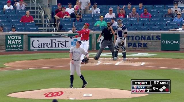 Washington Nationals rookie Juan Soto crushed a 433-foot moonshot home run in Monday afternoon's game against the New York Yankees, which is a continuation of a game from May 15th that was rained out in the sixth inning.