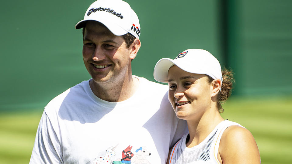 Ash Barty was caught slightly off guard by an unexpected question about her boyfriend, Gary Kissick, after winning through to the Wimbledon quarter finals. (Photo by TPN/Getty Images)