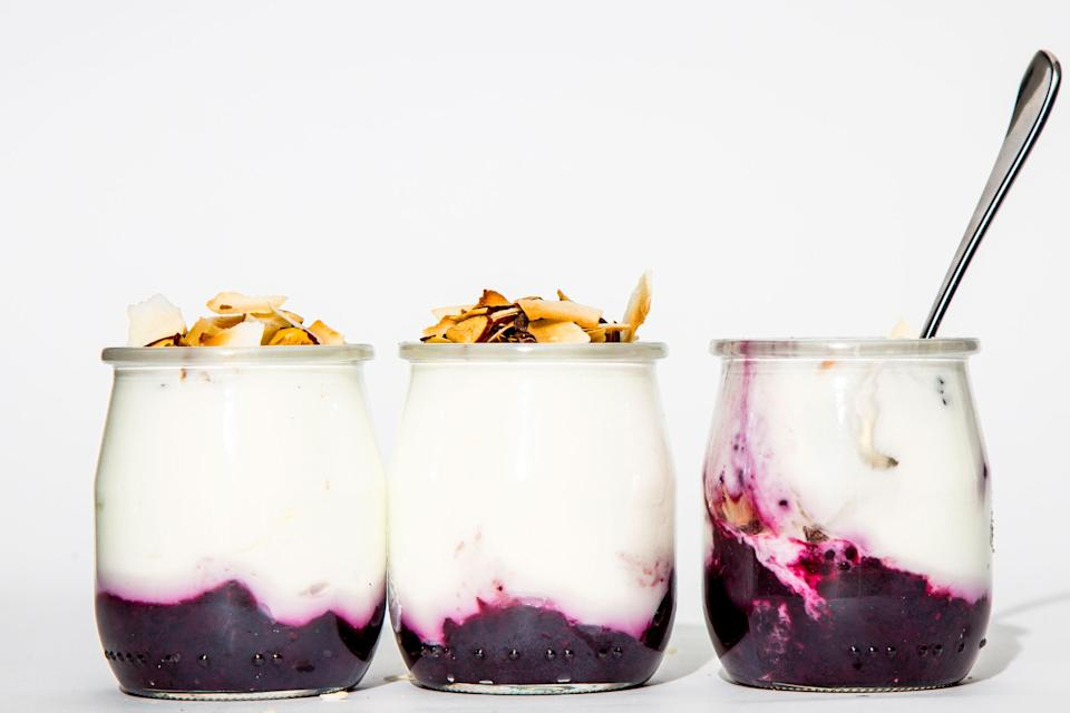"""A made-from-scratch superfood version of ordinary fruit yogurt (which you will likely never want to buy again!). <a href=""""https://www.bonappetit.com/recipe/fruit-on-the-bottom-yogurt-cups?mbid=synd_yahoo_rss"""" rel=""""nofollow noopener"""" target=""""_blank"""" data-ylk=""""slk:See recipe."""" class=""""link rapid-noclick-resp"""">See recipe.</a>"""