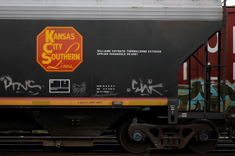 A wagon of a freight train of the Kansas City Southern (KCS) Railway Company is pictured in Toluca, Mexico October 1, 2018. REUTERS/Edgard Garrido
