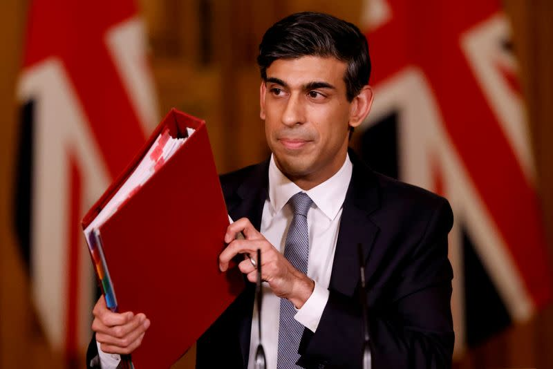 FILE PHOTO: Rishi Sunak hosts a press conference in Downing Street