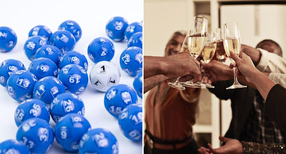 Powerball balls are pictured and people are seen celebrating with champagne glasses.