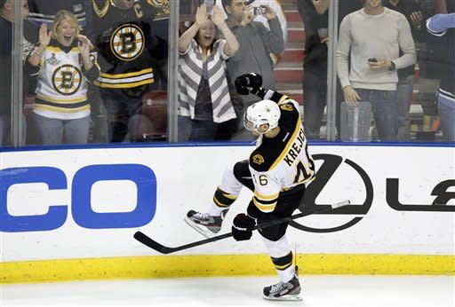 Boston Bruins center David Krejci (46) celebrates after scoring the game winning goal during a shootout in an NHL hockey game against the Florida Panthers, Monday, Jan. 16, 2012, in Sunrise, Fla. The Bruins defeated the Panthers in a shootout 3-2. (AP Photo/Lynne Sladky)