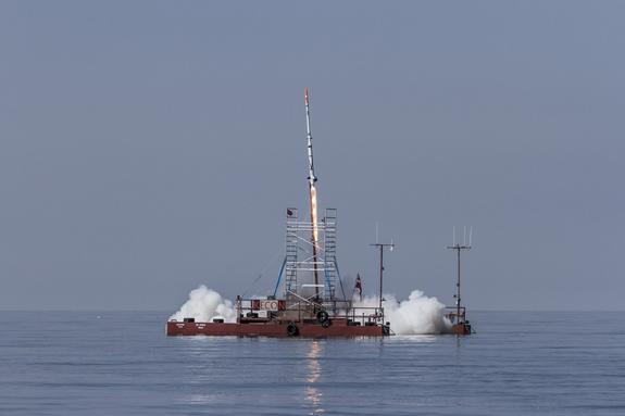 The Danish private spaceflight group Copenhagen Suborbitals launched an homemade unmanned rocket Friday (July 27) to test spaceflight systems. The SMARAGD-1 rocket launched from the Sputnik launch platform in the Baltic Sea.