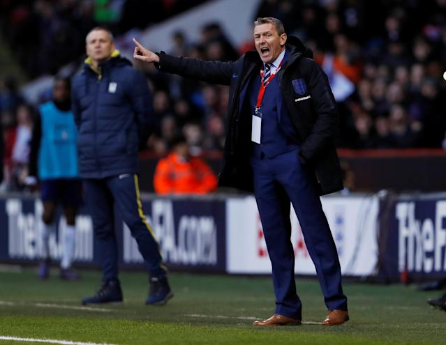 Soccer Football - European Under 21 Championship Qualifier - England vs Ukraine - Bramall Lane, Sheffield, Britain - March 27, 2018 England head coach Aidy Boothroyd gestures Action Images via Reuters/Lee Smith