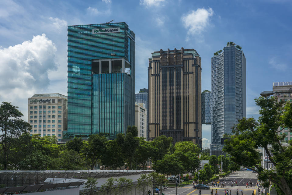 Singapore - May 25, 2018: Raffles hospital, new and old building in view . Raffles Hospital  is a tertiary care private hospital and the flagship of the Raffles Medical Group.