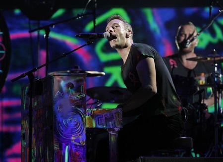 Coldplay singer Chris Martin performs at the 54th annual Grammy Awards in Los Angeles