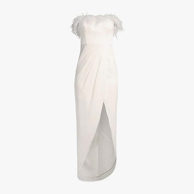 """$295, SAKS FIFTH AVENUE. <a href=""""https://www.saksfifthavenue.com/product/aidan-by-aidan-mattox-feather-trim-strapless-high-low-gown-0400013796763.html"""" rel=""""nofollow noopener"""" target=""""_blank"""" data-ylk=""""slk:Get it now!"""" class=""""link rapid-noclick-resp"""">Get it now!</a>"""