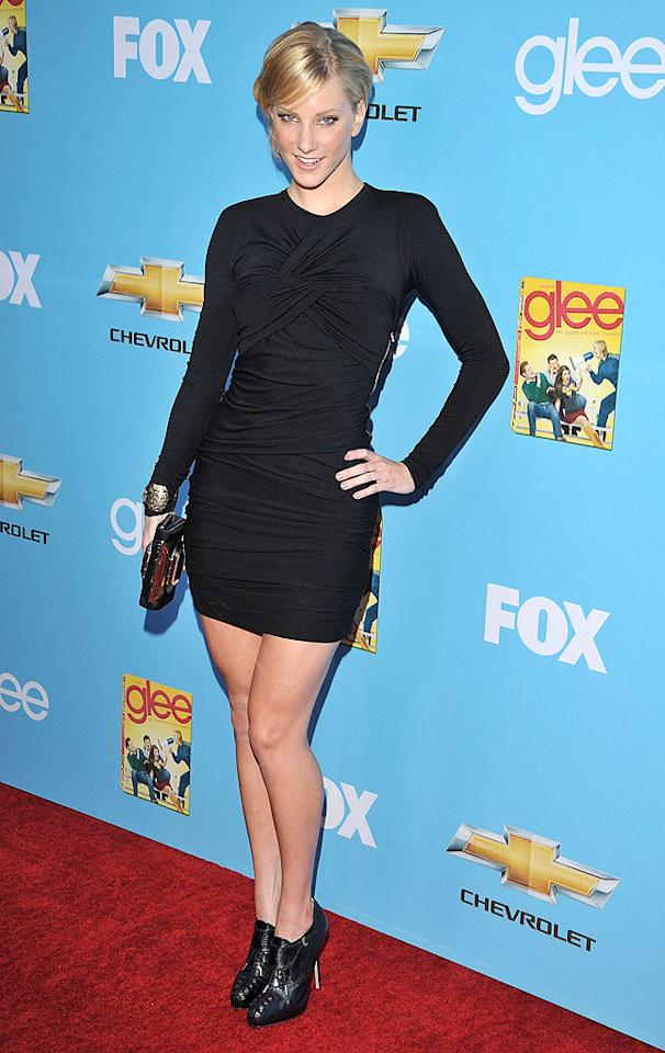 "Naya's fellow Cheerio, Heather Morris, opted for an all-black ensemble featuring ankle booties and dramatic hair. Lester Cohen/<a href=""http://www.wireimage.com"" target=""new"">WireImage.com</a> - September 7, 2010"