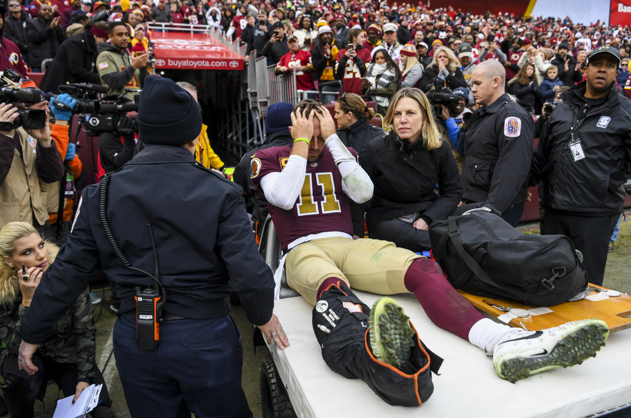 Washington quarterback Alex Smith's leg injury brought a flood of bad memories for Joe Theismann. (Getty Images)