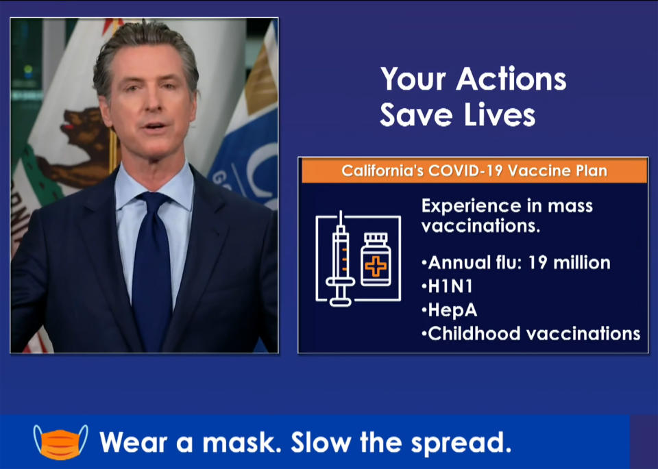 In this image taken from a live-streamed video from the California Governor's Office, California Gov. Gavin Newsom talks during a news conference on Monday, Oct. 19, 2020, in Sacramento, Calif. Newsom said California won't allow any distribution of new coronavirus vaccines in the nation's most populous state until it is reviewed by the state's own panel of experts. (California Governor's Office via AP)